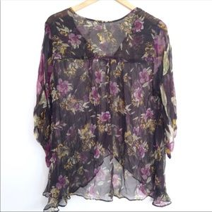 Like New Free People Sheer Floral Kimono Blouse L